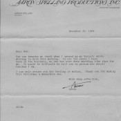Aaron Spelling letter to Bob