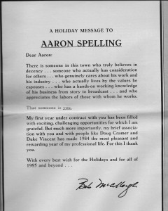 """Daily Variety"" ad thanking Aaron Spelling"