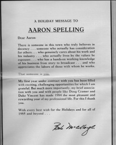 Bob's letter to Aaron Spelling