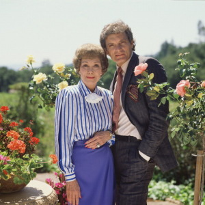 "David & Jane Wyman: ""Falcon Crest"" rivals...and best friends."