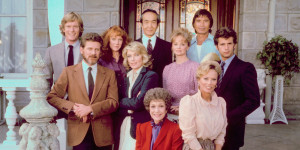 "In the center of the ""Falcon Crest"" action with Jane Wyman, Robert Foxworth, William R. Moses, Jamie Rose, Chao Li Chi, Nick Ramus, Lorenzo Lamas, Abby Dalton, Margaret Ladd"